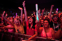 Fans watch LMFAO performing live at The Palace Of Auburn Hills in Auburn Hills, Michigan on May 23, 2012. © Joe Gall / MediaPunch Inc.