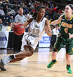 SIOUX FALLS, SD - MARCH 8: Tysia Manuel #13 of Oral Roberts drives past Brooke Yaggie #5 of North Dakota State in the first half of their first round Summit League Championship Tournament game Sunday afternoon at the Denny Sanford Premier Center in Sioux Falls, SD. (Photo by Dick Carlson/Inertia)