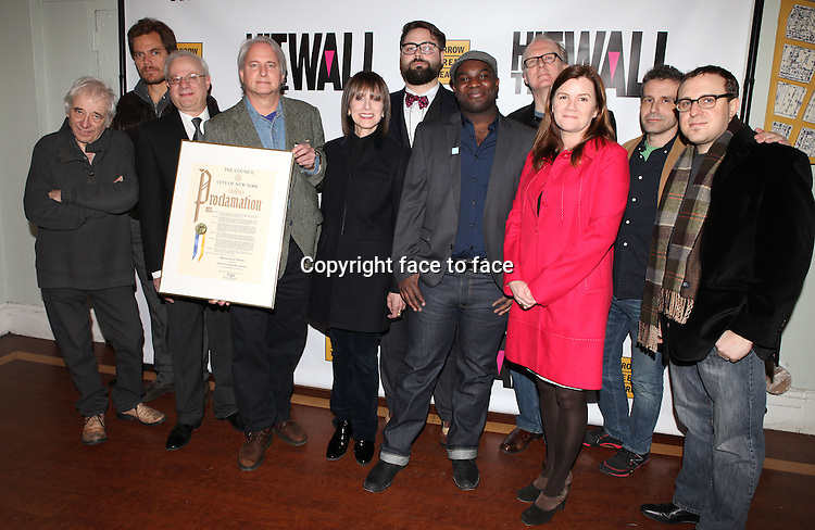 """Austin Pendleton, Michael Shannon, Tom Wirtshafter, Scott Morfee, Jean Doumanian, Eric Hoff, Ike Holter, Tracy Lette, Mare Winningham, David Cromer and Josh Schmidt attending the New York Premiere of the Opening Night Performance of """"Hit The Wall"""" at the Barrow Street Theatre in New York City on 3/10/2013...Credit: McBride/face to face"""