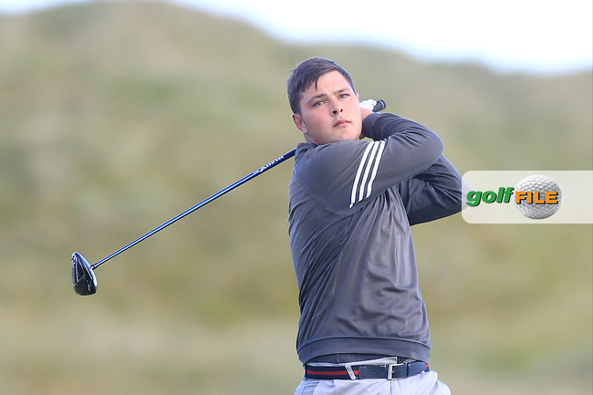 Stuart Bleakley (Shandon Park) on the 2nd tee during Matchplay Round 3 of the South of Ireland Amateur Open Championship at LaHinch Golf Club on Saturday 25th July 2015.<br /> Picture:  Golffile   TJ Caffrey