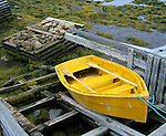 Halifax County, Nova Scota<br /> Yellow sliff on a wooden launching ramp at low tide.<br /> Glen Margaret village, St. Margaret Bay