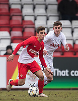 Francesco Antonucci of AS Monaco FC Youth & Jack Roles of Spurs U19 during the UEFA Youth League round of 16 match between Tottenham Hotspur U19 and Monaco at Lamex Stadium, Stevenage, England on 21 February 2018. Photo by Andy Rowland.