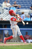 Williamsport Crosscutters third baseman Jan Hernandez (11) breaks his bat during a game against the Batavia Muckdogs on July 27, 2014 at Dwyer Stadium in Batavia, New York.  Batavia defeated Williamsport 6-5.  (Mike Janes/Four Seam Images)
