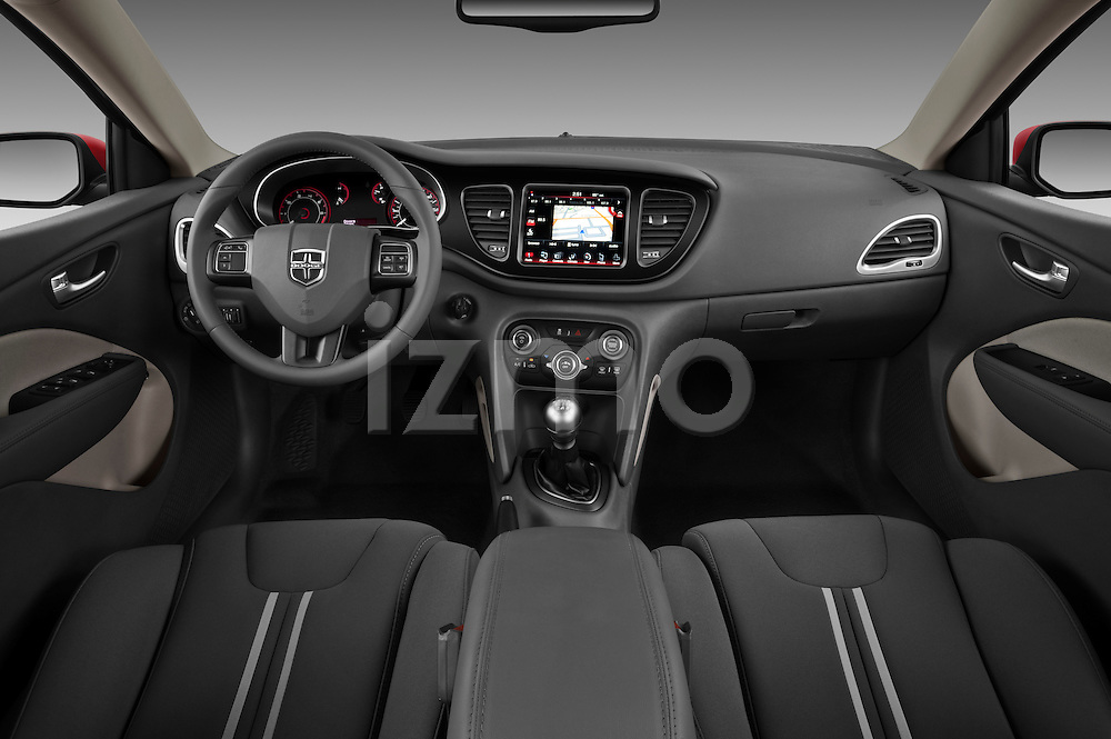 Straight dashboard photo of a 2013 Dodge Dart Rallye.sedan