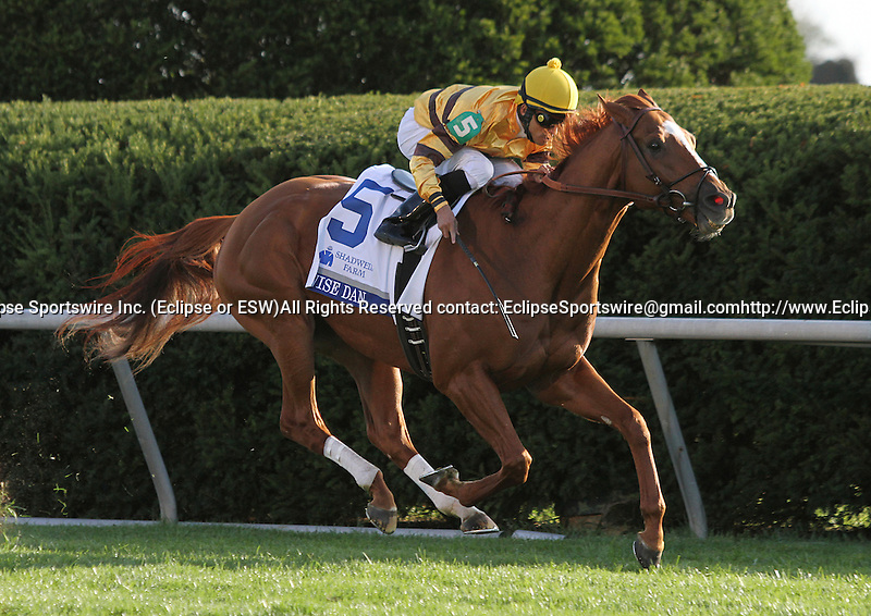 Wise Dan and Jose Lezcano win the 27th running of the Shadwell Turf Mile Grade 1 $750,000 at Keeneland Racecourse for owner Morton Fink and trainer Charles Lopresti.  October 6, 2012.