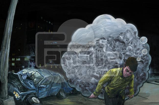 Illustration of drunken man carrying bottles with crashed car in background