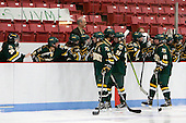 The Catamounts celebrate Lindsey Cashman's goal which gave them a 2-1 lead at the 1:12 mark of the third period. - The Boston University Terriers tied the visiting University of Vermont Catamounts 2-2 on Saturday, November 13, 2010, at Walter Brown Arena in Boston, Massachusetts.