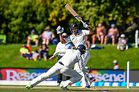 Colin De Grandhomme of the Black Caps hits one near Mark Stoneman of England during the final day of the Second International Cricket Test match, New Zealand V England, Hagley Oval, Christchurch, New Zealand, 3rd April 2018.Copyright photo: John Davidson / www.photosport.nz