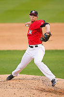 Kannapolis Intimidators relief pitcher Adam Lopez (30) pitched a 1-2-3 9th inning against the Hickory Crawdads at CMC-Northeast Stadium on April 14, 2013 in Kannapolis, North Carolina.  The Intimidators defeated the Crawdads 6-0.  (Brian Westerholt/Four Seam Images)