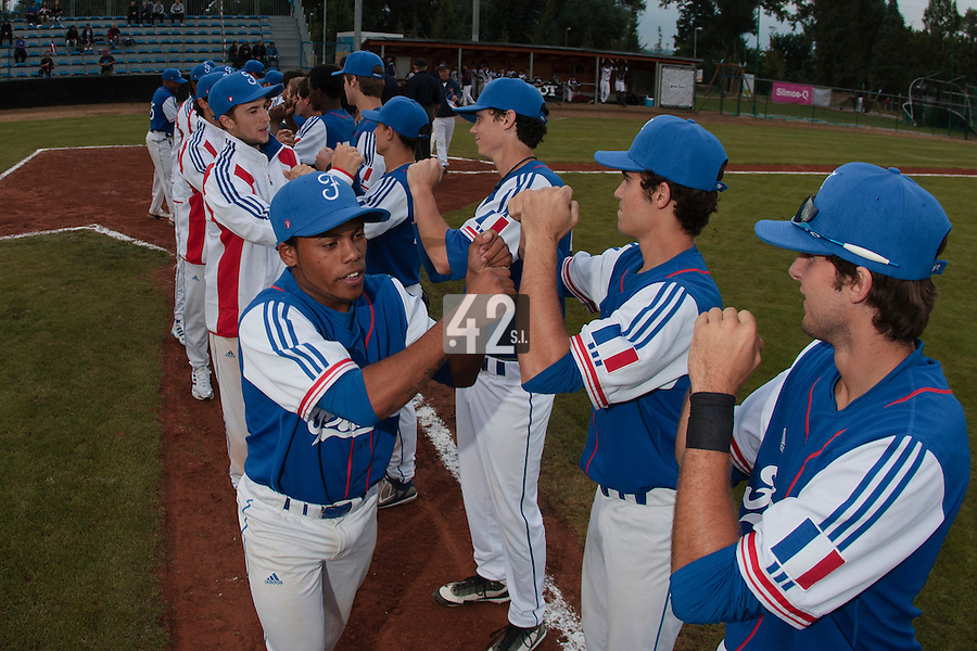 17 August 2010: Players of Team France are seen during the Czech Republic 4-3 win over France, at the 2010 European Championship, under 21, in Brno, Czech Republic.