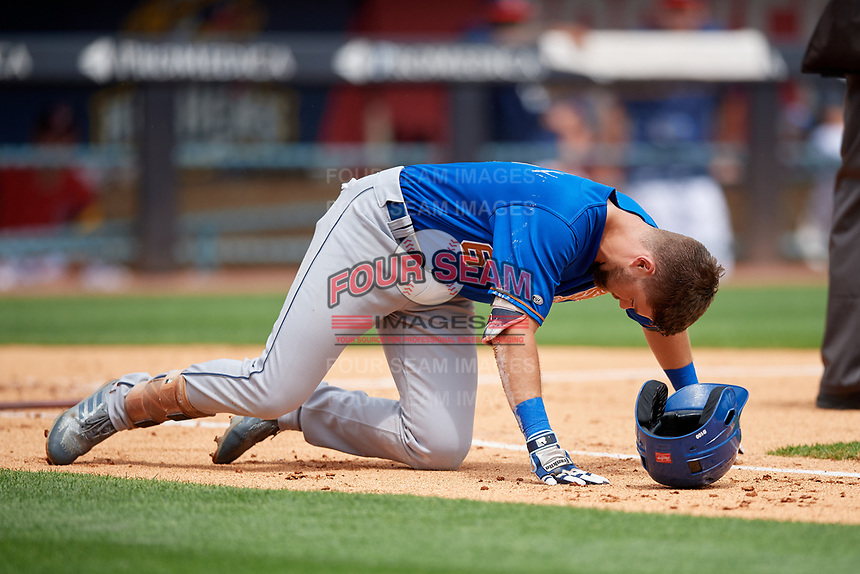 Durham Bulls Nathan Lukes (6) after being hit by a pitch during an International League game against the Toledo Mud Hens on July 16, 2019 at Fifth Third Field in Toledo, Ohio.  Durham defeated Toledo 7-1.  (Mike Janes/Four Seam Images)