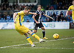 Ross County v St Johnstone&hellip;18.02.17     SPFL    Global Energy Stadium, Dingwall<br />Steven MacLean&rsquo;s shot is saved by Scott Fox<br />Picture by Graeme Hart.<br />Copyright Perthshire Picture Agency<br />Tel: 01738 623350  Mobile: 07990 594431