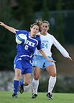 11 October 2007: Duke's Kelly Hathorn (6) and North Carolina's Jessica Maxwell (24). The University of North Carolina Tar Heels defeated the Duke University Blue Devils 2-1 at Fetzer Field in Chapel Hill, North Carolina in an Atlantic Coast Conference NCAA Division I Women's Soccer game.