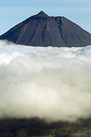 Clouds around Pico, the highest mountain in Portugal, Pico, Azores, Portugal