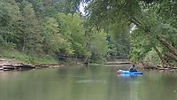 NWA Democrat-Gazette/FLIP PUTTHOFF <br /> Alan Bland admires summer scenery Aug. 16 2019 on the War Eagle River.