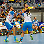GER - Mannheim, Germany, September 23: During the DKB Handball Bundesliga match between Rhein-Neckar Loewen (yellow) and TVB 1898 Stuttgart (white) on September 23, 2015 at SAP Arena in Mannheim, Germany. Final score 31-20 (19-8) .  Dominik Weiss #6 of TVB 1898 Stuttgart, Patrick Groetzki #24 of Rhein-Neckar Loewen, Simon Baumgarten #14 of TVB 1898 Stuttgart<br /> <br /> Foto &copy; PIX-Sportfotos *** Foto ist honorarpflichtig! *** Auf Anfrage in hoeherer Qualitaet/Aufloesung. Belegexemplar erbeten. Veroeffentlichung ausschliesslich fuer journalistisch-publizistische Zwecke. For editorial use only.