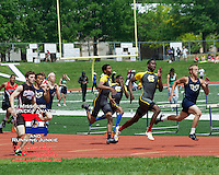 The Hazelwood Central trio (in Gray and Yellow) of Matt Quarells (right), Brandon Chunn (left), and Marcus Davis (center), hit the half-way mark on their way to a 1-3-4 finish in the 400 meters at the Class 4 Sectional 2 meet, to all qualify for the State Championships. The trio teamed up with Justin Hall to capture the 4x400 title and will be a vital part of the Hawks team looking for their fourth straight Class 4 Boys title.