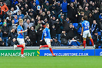 Marcus Harness of Portsmouth right scores the first goal and celebrates during Portsmouth vs AFC Wimbledon, Sky Bet EFL League 1 Football at Fratton Park on 11th January 2020