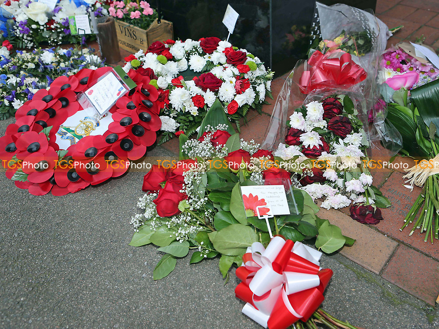MK Dons floral tribute amongst other flowers during Charlton Athletic vs MK Dons, Sky Bet EFL League 1 Football at The Valley on 4th April 2017