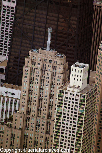 aerial photograph skyscrapers including Palmolive Building, John Hancock Center, Westin, Chicago, Illinois