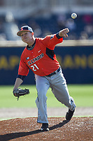 Illinois Fighting Illini pitcher Zak Devermann (21) delivers a pitch to the plate against the Michigan Wolverines during the NCAA baseball game on April 8, 2017 at Ray Fisher Stadium in Ann Arbor, Michigan. Michigan defeated Illinois 7-0. (Andrew Woolley/Four Seam Images)