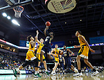 SIOUX FALLS, SD - MARCH 8: R.J. Fuqua #12 of the Oral Roberts Golden Eagles shoots against the North Dakota State Bison at the 2020 Summit League Basketball Championship in Sioux Falls, SD. (Photo by Richard Carlson/Inertia)