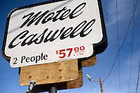 A view of the sign for Motel Caswell in Tewksbury, Massachusetts, USA, on Tuesday, Oct. 11, 2011. The motel is owned by Russell Caswell. Caswell's father built the motel in the 1950s. Now, conservative activitists are trying to use federal asset-forfeiture laws to seize the motel, saying that the motel is used by drug dealers to conduct business.  The legal challenge intends to show evidence tying the property to crimes in order to seize the motel.<br /> <br /> <br /> <br /> CREDIT: M. Scott Brauer for the Wall Street Journal<br /> slug: FORFEIT