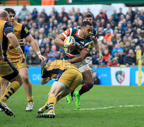 February 18th 2017,  Leicester, England; Aviva Premiership Rugby, Leicester versus Bristol;  Telusa Veainu makes a break for Tigers