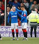 24.11.2019: Hamilton v Rangers: Ryan Kent celebrates with James Tavernier