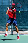 SURPRISE, AZ - MAY 12: Arnold Kokulewski returns a ball against Carlos Gomez and Vivien Versier of the Barry Buccaneers during the Division II Men's Tennis Championship held at the Surprise Tennis & Racquet Club on May 12, 2018 in Surprise, Arizona. (Photo by Jack Dempsey/NCAA Photos via Getty Images)