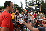 05 September 2008: U.S. forward Landon Donovan (left) talks to the media after practice. The United States Men's National Team held a training session at Estadio Nacional de Futbol Pedro Marrero in Havana, Cuba in preparation for their 2010 FIFA World Cup Qualifier against Cuba the next day.