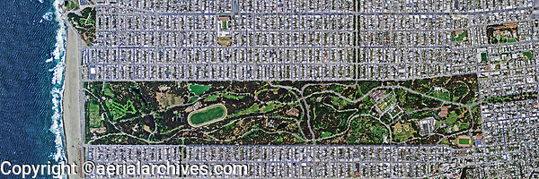 aerial map view above Golden Gate park Ocean beach San Francisco
