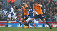 Blackburn Rovers' Bradley Dack battles with Oldham Athletic's Dan Gardner (left) and Anthony Gerrard (right) <br /> <br /> Photographer Stephen White/CameraSport<br /> <br /> The EFL Sky Bet League One - Blackburn Rovers v Oldham Athletic - Saturday 10th February 2018 - Ewood Park - Blackburn<br /> <br /> World Copyright &copy; 2018 CameraSport. All rights reserved. 43 Linden Ave. Countesthorpe. Leicester. England. LE8 5PG - Tel: +44 (0) 116 277 4147 - admin@camerasport.com - www.camerasport.com