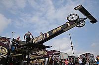 Apr. 26, 2013; Baytown, TX, USA: NHRA crew members for top fuel dragster driver Khalid Albalooshi during qualifying for the Spring Nationals at Royal Purple Raceway. Mandatory Credit: Mark J. Rebilas-