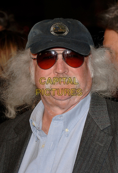 "DAVID CROSBY.Arrivals at the ""Sahara"" Los Angeles Film Premiere, Grauman's Chinese Theatre, Hollywood, California, USA,.April 4th 2005..portrait headshot cap hat glasses sunglasses grey moustache facial hair long.Ref: CUS.www.capitalpictures.com.sales@capitalpictures.com.©Capital Pictures.** NO USA **"