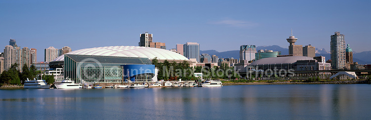 "City of Vancouver Skyline and Downtown at ""False Creek"", BC, British Columbia, Canada, in Summer.  BC Place is midground, and the North Shore Mountains (Coast Mountains) rise above the City. - Panoramic View (Historical Roof on BC Place)"