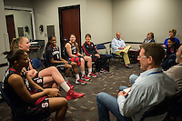 NASHVILLE, TN - The Stanford Cardinal engages with the ESPN crew in Nashville, TN for the 2014 NCAA Final Four tournament at the Bridgestone Arena.