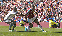 Burnley's Daniel Agyei battles with Manchester United's Eric Bailly<br /> <br /> Photographer Stephen White/CameraSport<br /> <br /> The Premier League - Burnley v Manchester United - Sunday 23rd April 2017 - Turf Moor - Burnley<br /> <br /> World Copyright &copy; 2017 CameraSport. All rights reserved. 43 Linden Ave. Countesthorpe. Leicester. England. LE8 5PG - Tel: +44 (0) 116 277 4147 - admin@camerasport.com - www.camerasport.com