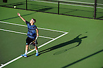 26 MAY 2011: Nicholas Szczurek of Emory returns a volley during the Division III Men's Tennis Championship held at the Biszantz Family Tennis Center and Pauley Tennis Complex in Claremont, CA. Amherst defeated Emory 5-2 for the national title. Stephen Nowland/NCAA Photos