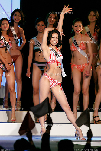 Miss Miyagi, Tomoka Abe, competes in the swimsuit category during Miss Universe Japan competition at Hotel Chinzanso Tokyo on July 4, 2017, Tokyo, Japan. Momoko Abe from Chiba who won the title will represent Japan in the next Miss Universe competition. (Photo by Rodrigo Reyes Marin/AFLO)