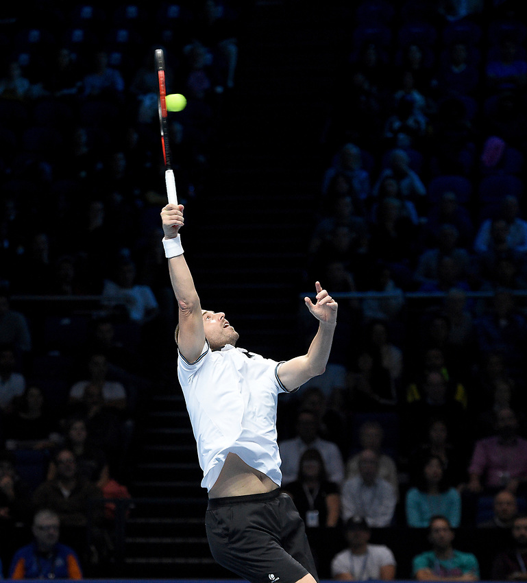 Oliver Marach in action against Pierre-Hugues Herbert and Nicolas Mahut<br /> <br /> Photographer Hannah Fountain/CameraSport<br /> <br /> International Tennis - Nitto ATP World Tour Finals Day 2 - O2 Arena - London - Monday 12th November 2018<br /> <br /> World Copyright © 2018 CameraSport. All rights reserved. 43 Linden Ave. Countesthorpe. Leicester. England. LE8 5PG - Tel: +44 (0) 116 277 4147 - admin@camerasport.com - www.camerasport.com