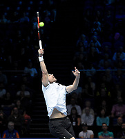 Oliver Marach in action against Pierre-Hugues Herbert and Nicolas Mahut<br /> <br /> Photographer Hannah Fountain/CameraSport<br /> <br /> International Tennis - Nitto ATP World Tour Finals Day 2 - O2 Arena - London - Monday 12th November 2018<br /> <br /> World Copyright &copy; 2018 CameraSport. All rights reserved. 43 Linden Ave. Countesthorpe. Leicester. England. LE8 5PG - Tel: +44 (0) 116 277 4147 - admin@camerasport.com - www.camerasport.com
