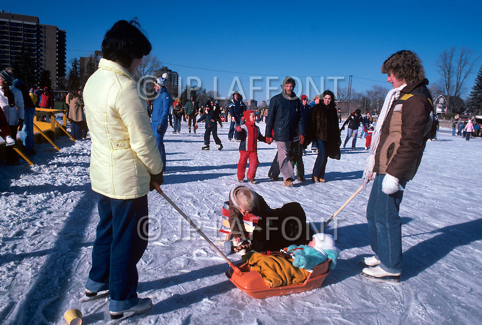 Toronto, Canada, Winter 1984. Ice skating on the Harbourfront.