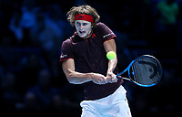 Alexander Zverev in action against Marin Cilic <br /> <br /> Photographer Rob Newell/CameraSport<br /> <br /> International Tennis - Barclays ATP World Tour Finals - O2 Arena - London - Day 1 - Sunday 12th November 2017<br /> <br /> World Copyright &copy; 2017 CameraSport. All rights reserved. 43 Linden Ave. Countesthorpe. Leicester. England. LE8 5PG - Tel: +44 (0) 116 277 4147 - admin@camerasport.com - www.camerasport.com