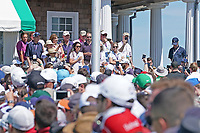 Dustin Johnson (USA) walks to the first tee during the third round of the 118th U.S. Open Championship at Shinnecock Hills Golf Club in Southampton, NY, USA. 16th June 2018.<br /> Picture: Golffile | Brian Spurlock<br /> <br /> <br /> All photo usage must carry mandatory copyright credit (&copy; Golffile | Brian Spurlock)
