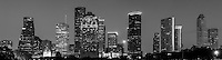 Black and White Houston Skyline Pano - This is a black and white version of the Houston skyline.  Houston is the fourth largest city in the US and has a very impressive skyline of modern high rise skyscrapers. This is a panorama of the Houston skyline that we took from a city park near the bayou close to downtown. This Photo captures some of Houston architecture tallest skyscrapers like the Chase Tower, Heritage Plaza, the America bank, the Smith St. buildings, along with the Well Fargo and many other high rises icons of the city.