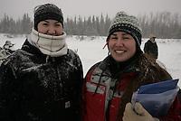 Angela Tony and Miranda Petruska, Nikolai residents and volunteer checkers.