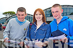 Junior Cert student from Mercy Mounthawk, Tralee after receiving their results on Wednesday from left James O'Connell, Jenifer Blackwell and TJ Trant.