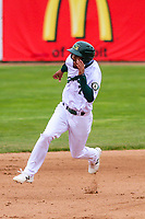 Beloit Snappers shortstop Jesus Lage (7) races to third base during a Midwest League game against the Quad Cities River Bandits on May 20, 2018 at Pohlman Field in Beloit, Wisconsin. Beloit defeated Quad Cities 3-2. (Brad Krause/Four Seam Images)