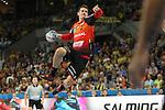 Rhein Neckar Loewe Andy Schmid (Nr.2) beim Wurf beim Spiel in der Champions League, Rhein Neckar Loewen - Barca Lassa.<br /> <br /> Foto &copy; PIX-Sportfotos *** Foto ist honorarpflichtig! *** Auf Anfrage in hoeherer Qualitaet/Aufloesung. Belegexemplar erbeten. Veroeffentlichung ausschliesslich fuer journalistisch-publizistische Zwecke. For editorial use only.